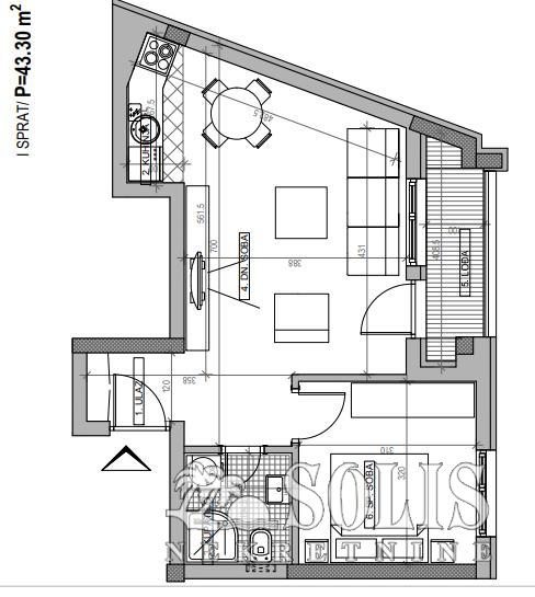 Apartment, Two-room apartment (one bedroom)<br>43 m<sup>2</sup>, Podbara