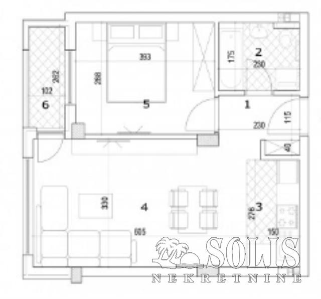 Apartment, Two-room apartment (one bedroom)<br>44 m<sup>2</sup>, Socijalno